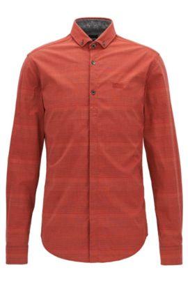 Camicia slim fit in cotone elasticizzato con jersey, Rosso