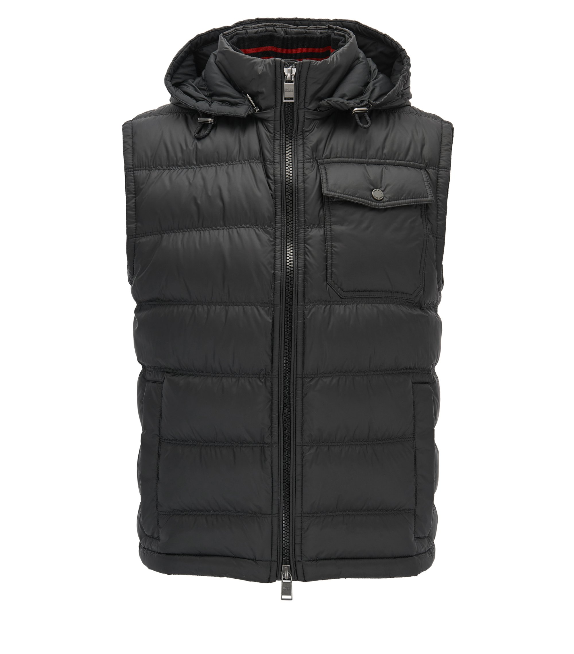 Regular-fit padded gilet in technical fabric, Black