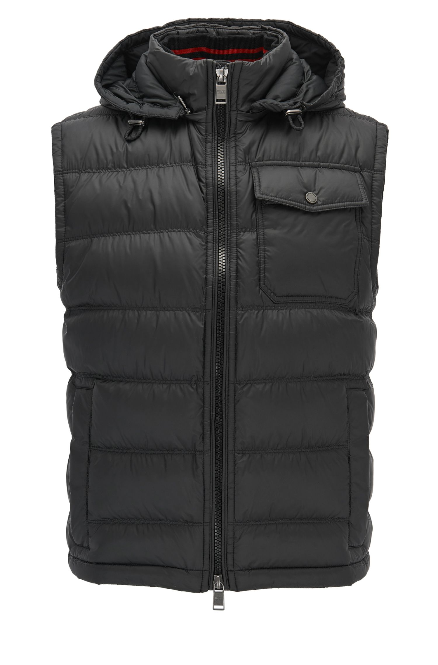 Regular-fit padded gilet in technical fabric