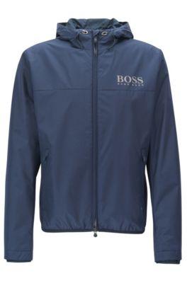 Regular-fit jas van technisch, waterafstotend materiaal, Donkerblauw