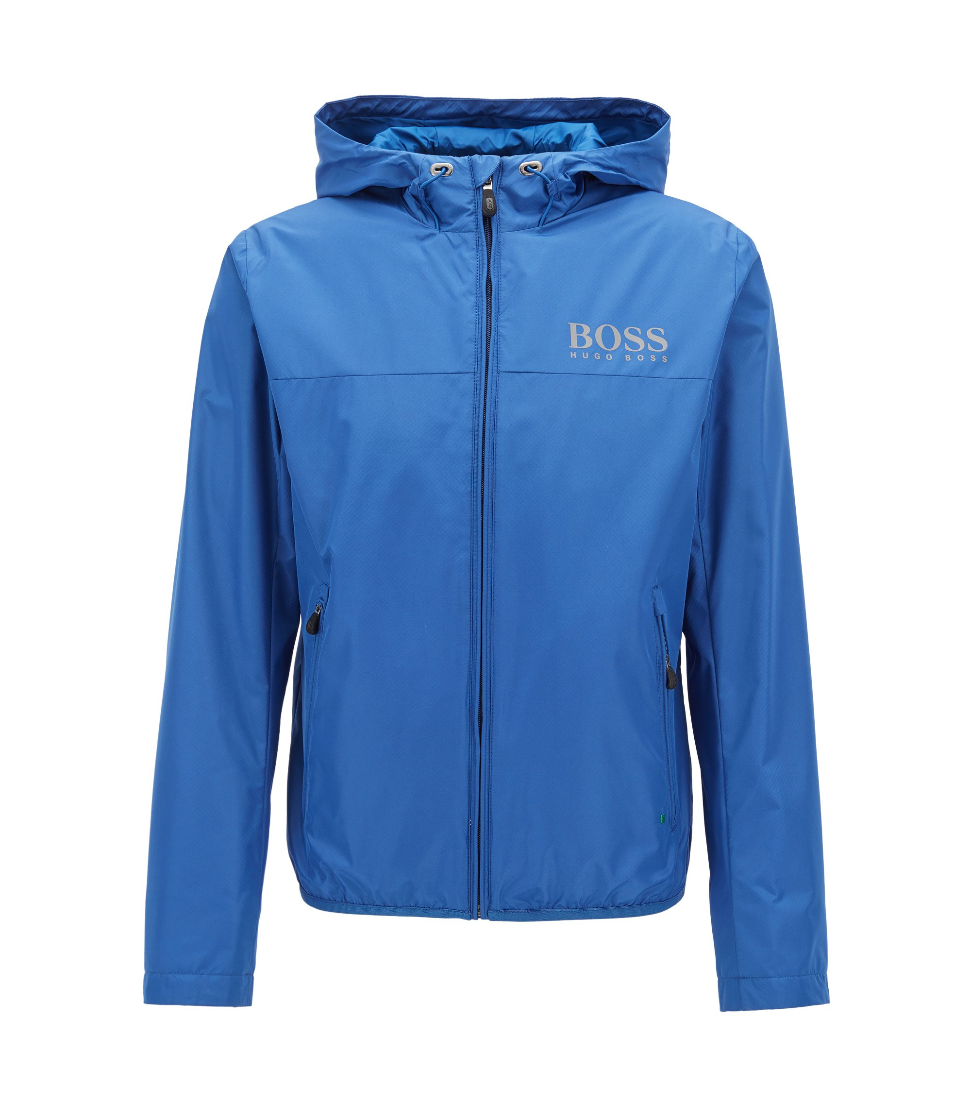 Water-resistant regular-fit jacket in technical fabric, Blue
