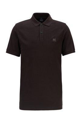 Polo Slim Fit en piqué de coton lavé, Noir