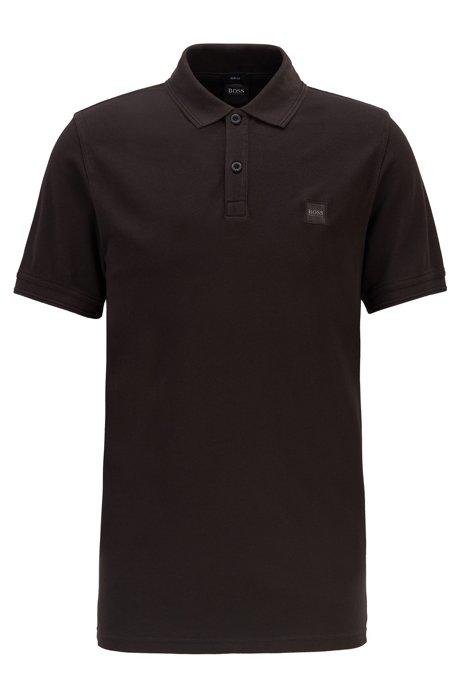Slim-Fit Poloshirt aus gewaschenem Baumwoll-Piqué, Schwarz