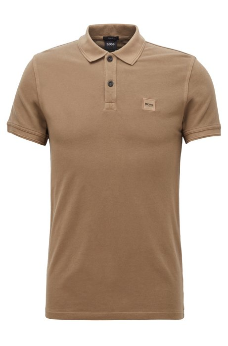 Polo Slim Fit en piqué de coton lavé, Marron
