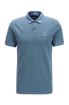 Slim-fit polo shirt in washed cotton piqué, Dark Grey