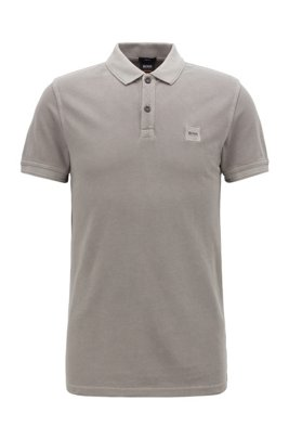 Slim-fit polo shirt in washed cotton piqué, Grey