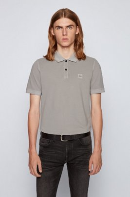 Slim-fit polo shirt in washed cotton piqué, Light Grey