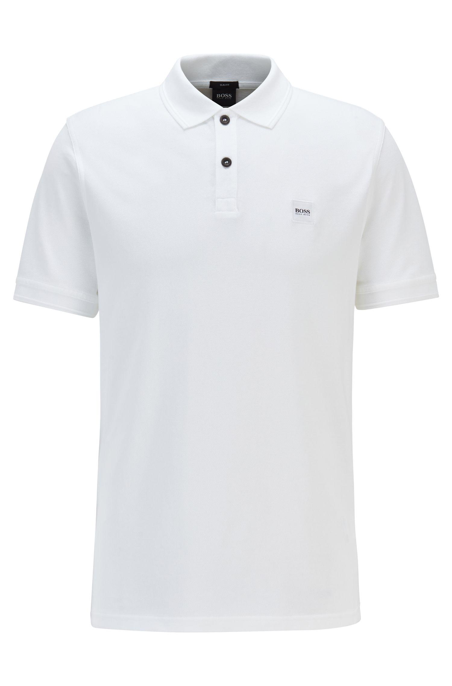 Polo Slim Fit en piqué de coton lavé, Blanc