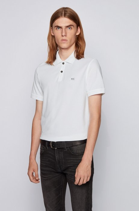 Slim-fit polo shirt in washed cotton piqué, White