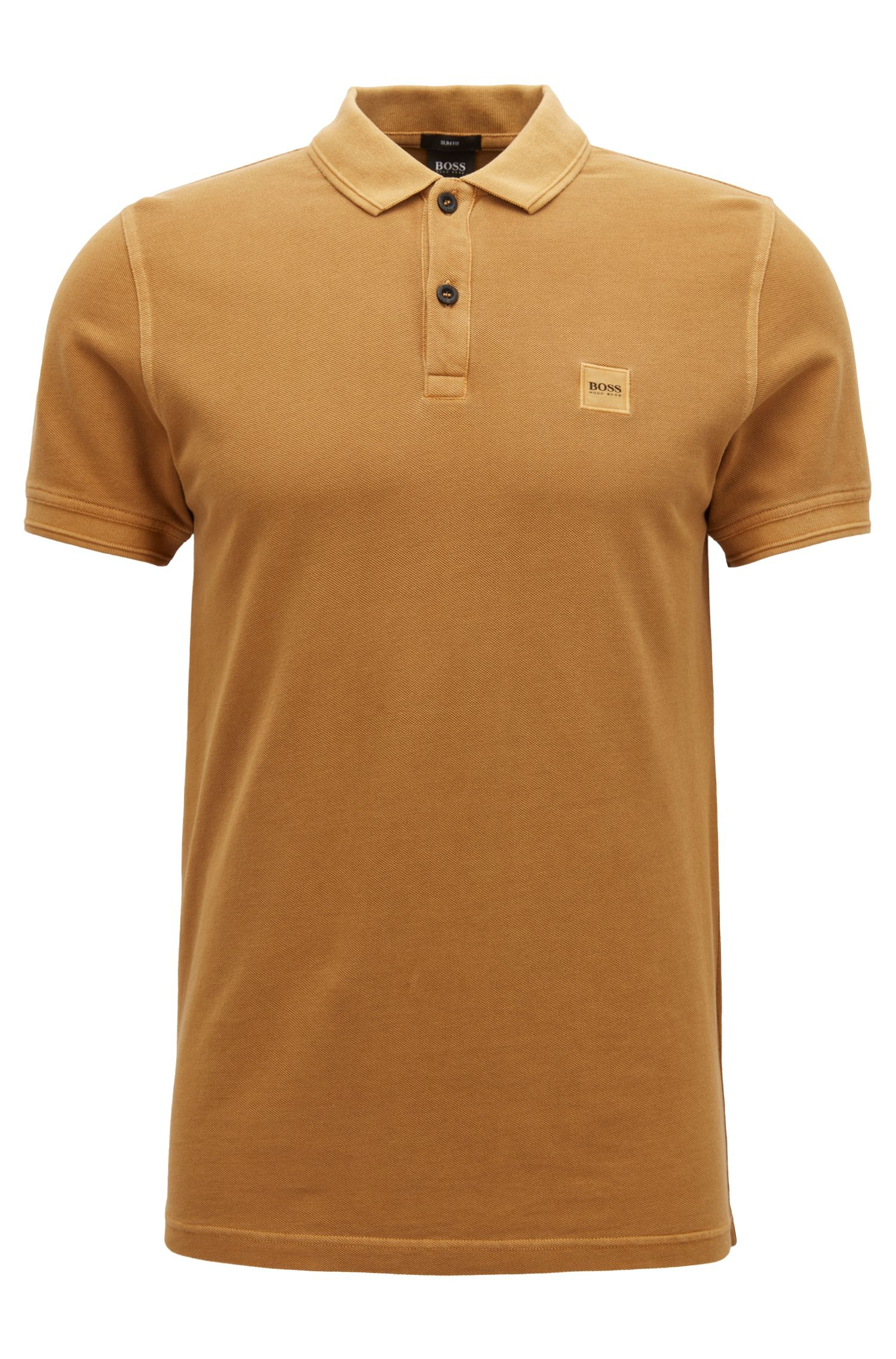 Slim-fit polo shirt in washed cotton piqué, Light Brown