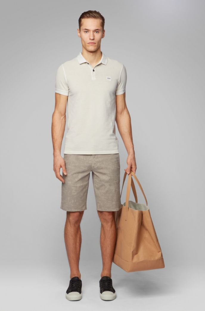 Slim-fit polo shirt in washed cotton piqué
