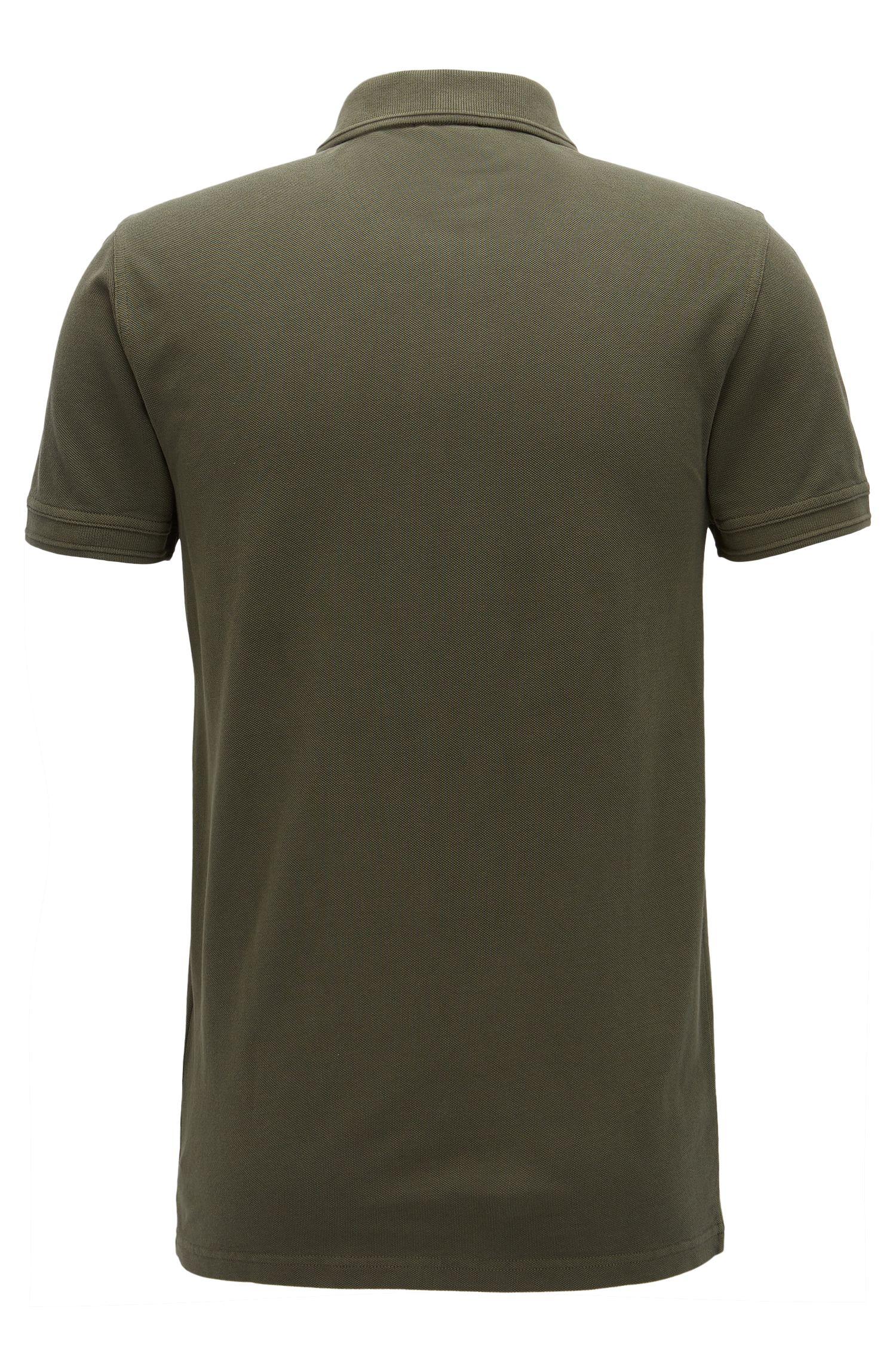 Polo Slim Fit en piqué de coton lavé, Vert sombre