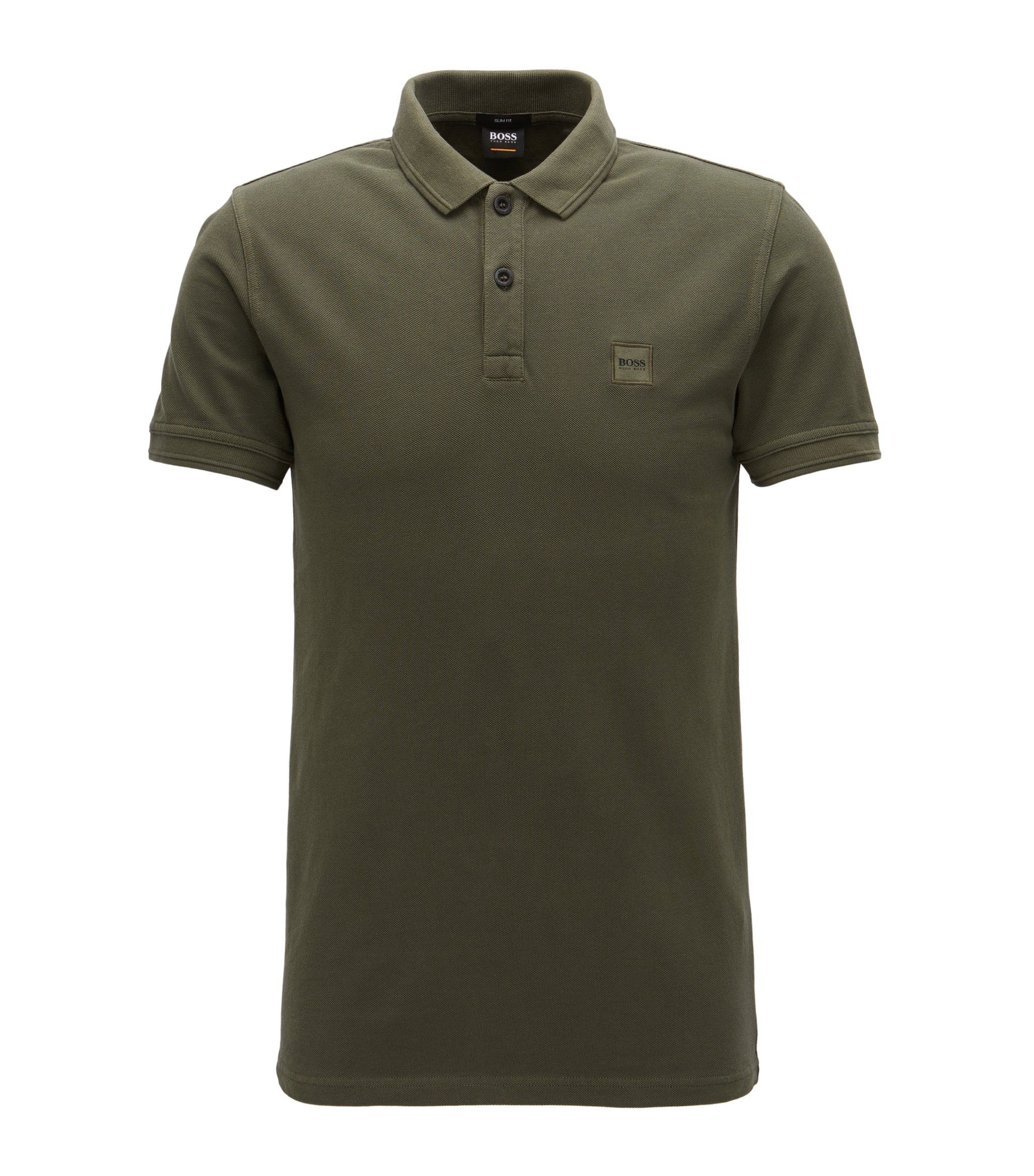 Polo slim fit in piqué di cotone lavato, Verde scuro