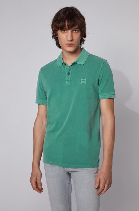 Slim-fit polo shirt in washed cotton piqué, Green