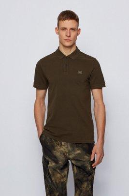 Slim-Fit Poloshirt aus gewaschenem Baumwoll-Piqué, Khaki