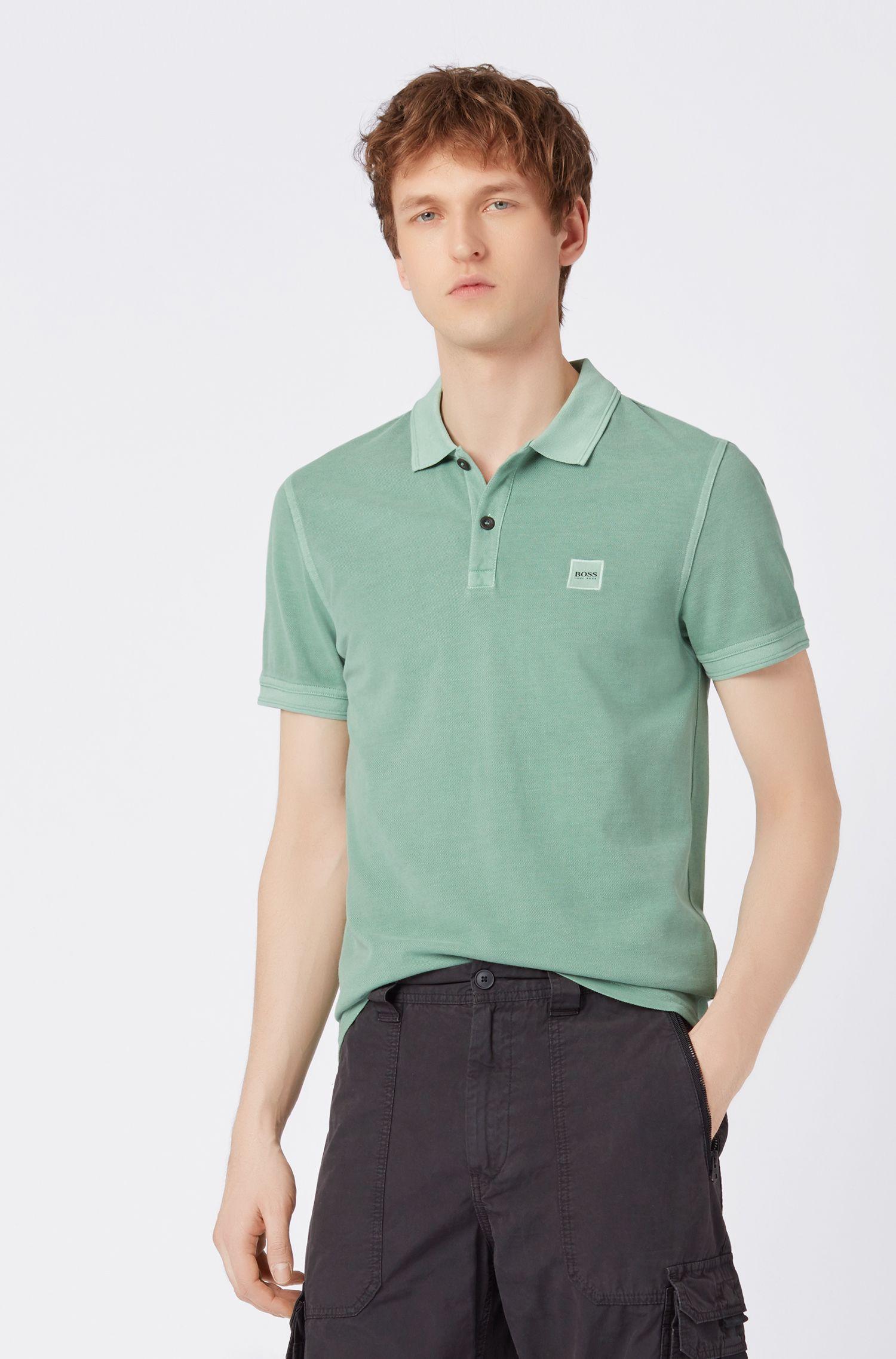 Polo slim fit en piqué de algodón con lavado, Verde