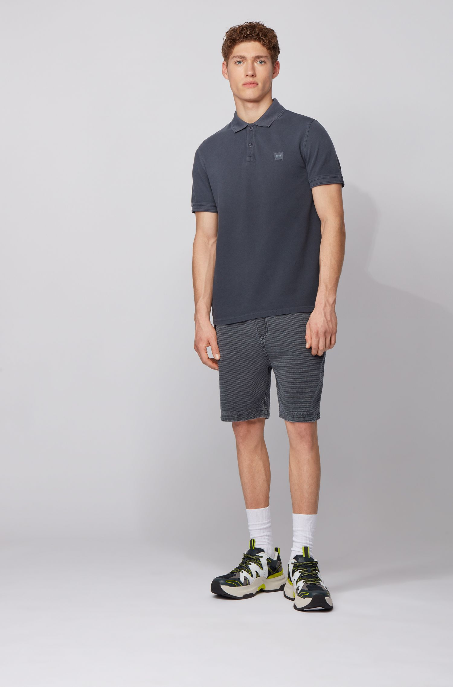 Slim-fit polo shirt in washed cotton piqué, Dark Blue