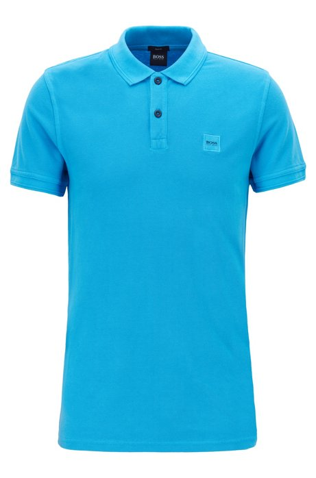 Slim-fit polo shirt in washed cotton piqué, Blue