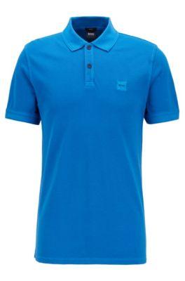 Polo Slim Fit en piqué de coton lavé, Bleu