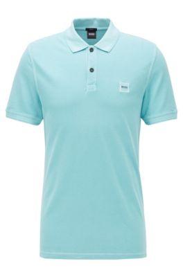 Slim-Fit Poloshirt aus gewaschenem Baumwoll-Piqué, Türkis
