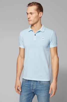 Polo Slim Fit en piqué de coton lavé, bleu clair