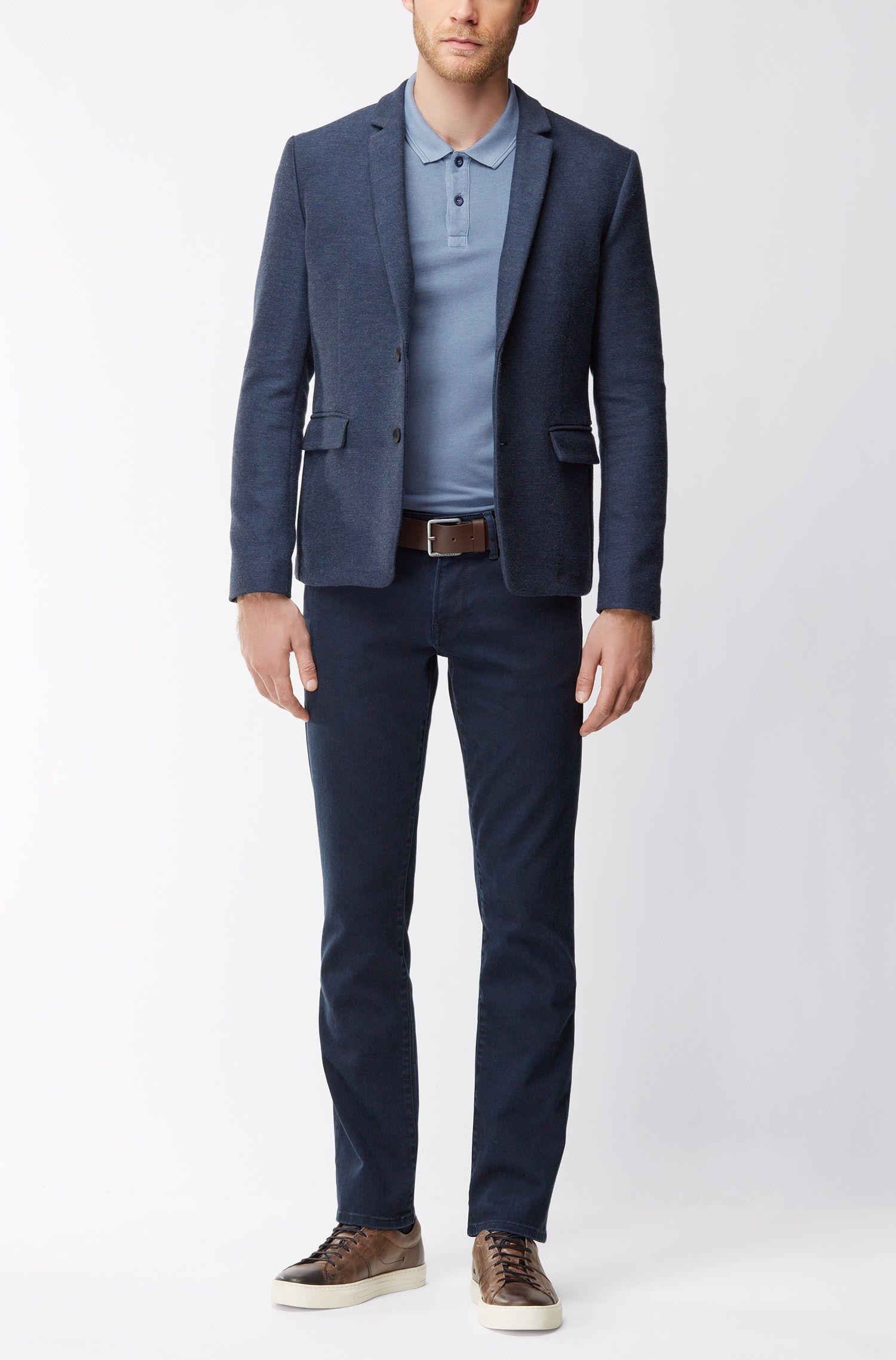 Slim-Fit Poloshirt aus gewaschenem Baumwoll-Piqué, Blau