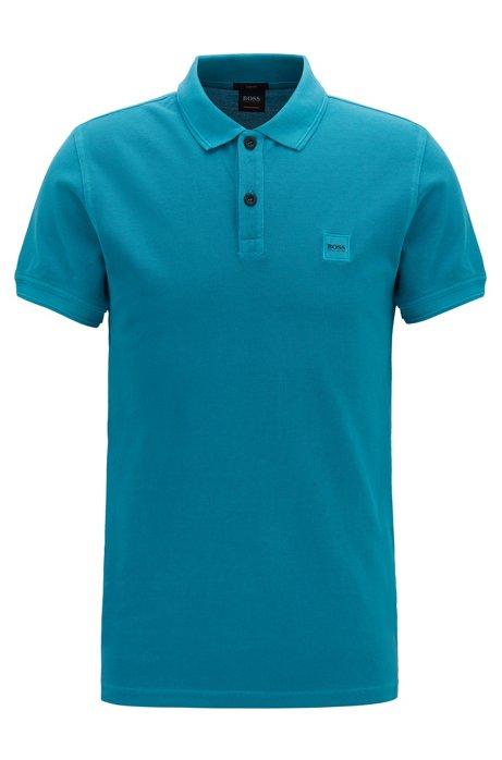 Polo Slim Fit en piqué de coton lavé, Turquoise