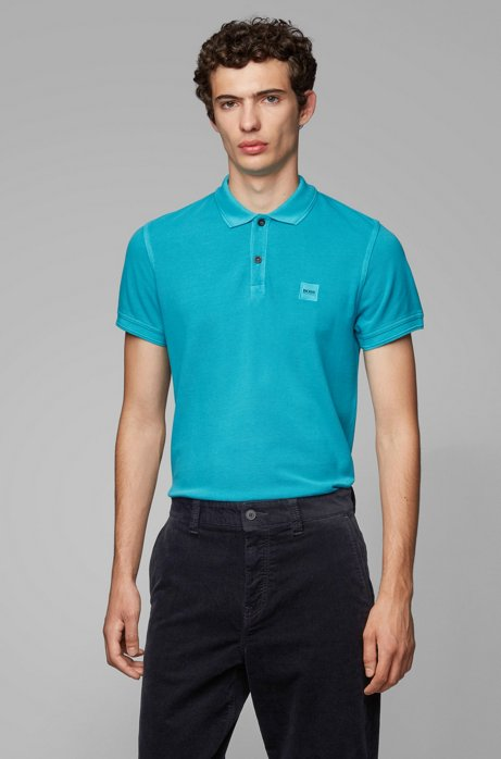 Slim-fit polo shirt in washed cotton piqué, Turquoise