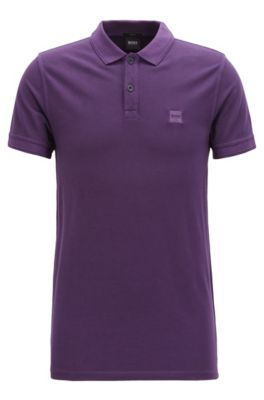 Polo slim fit in piqué di cotone lavato, Viola scuro