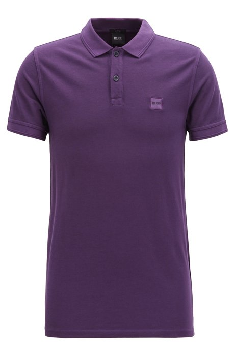 Slim-fit polo shirt in washed cotton piqué, Dark Purple