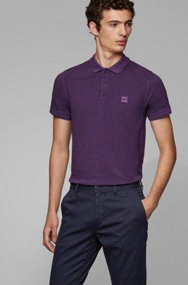 Slim-Fit Poloshirt aus gewaschenem Baumwoll-Piqué, Dunkel Lila