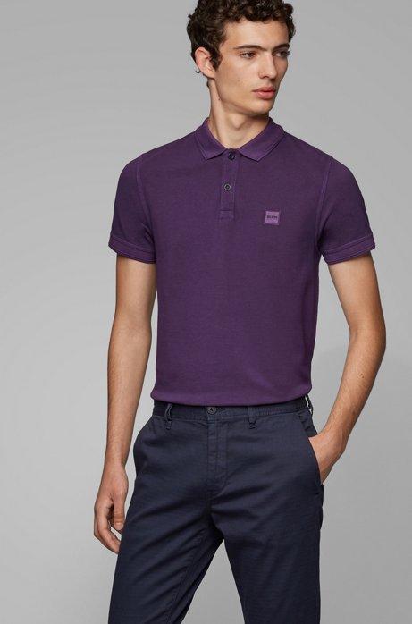 Slim-fit polo shirt in washed cotton piqué, Dark Purple