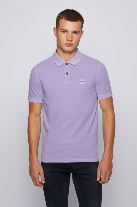 Slim-fit polo shirt in washed cotton piqué, Light Purple