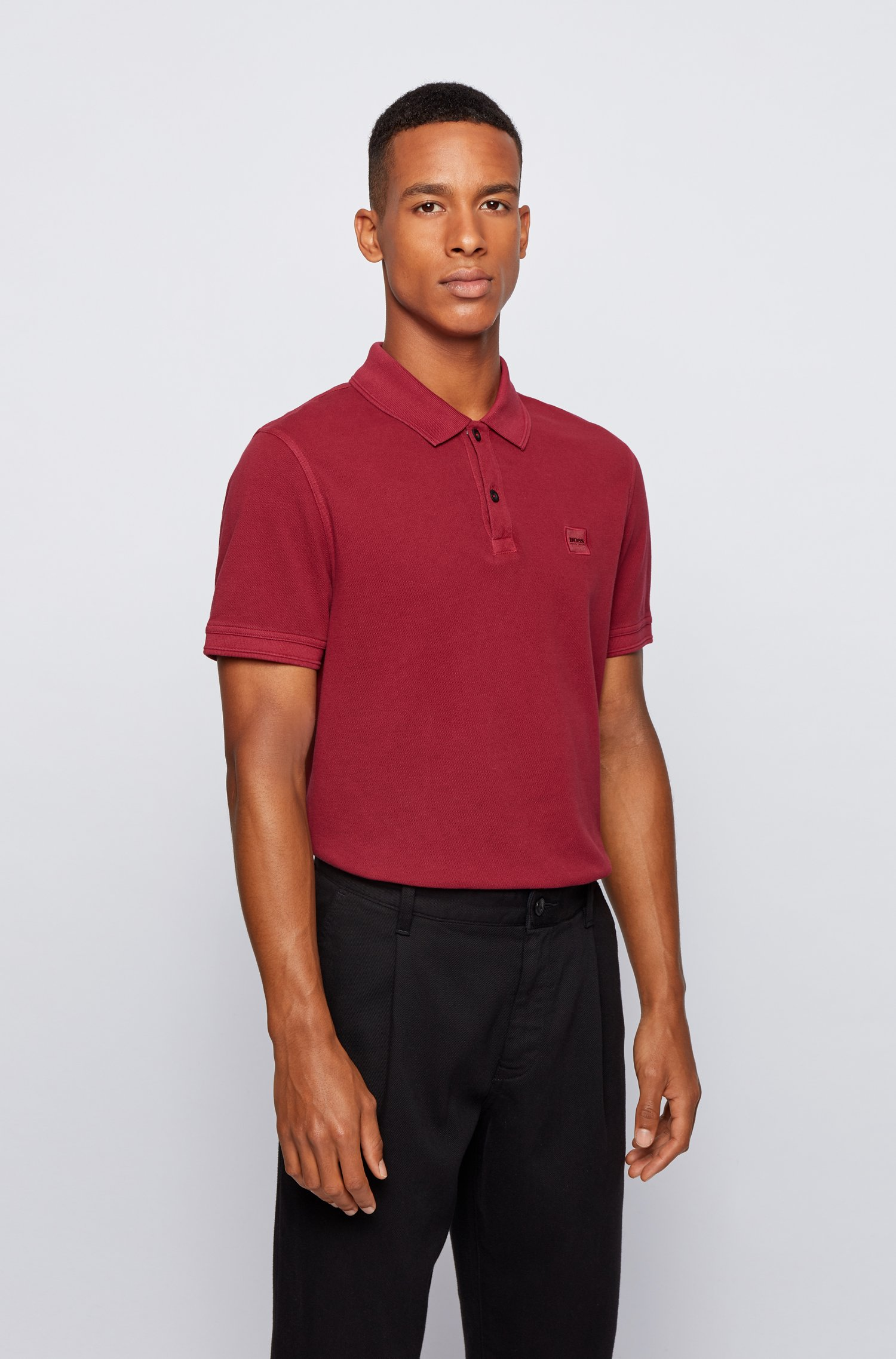 Slim-fit polo shirt in washed cotton piqué, Dark Red