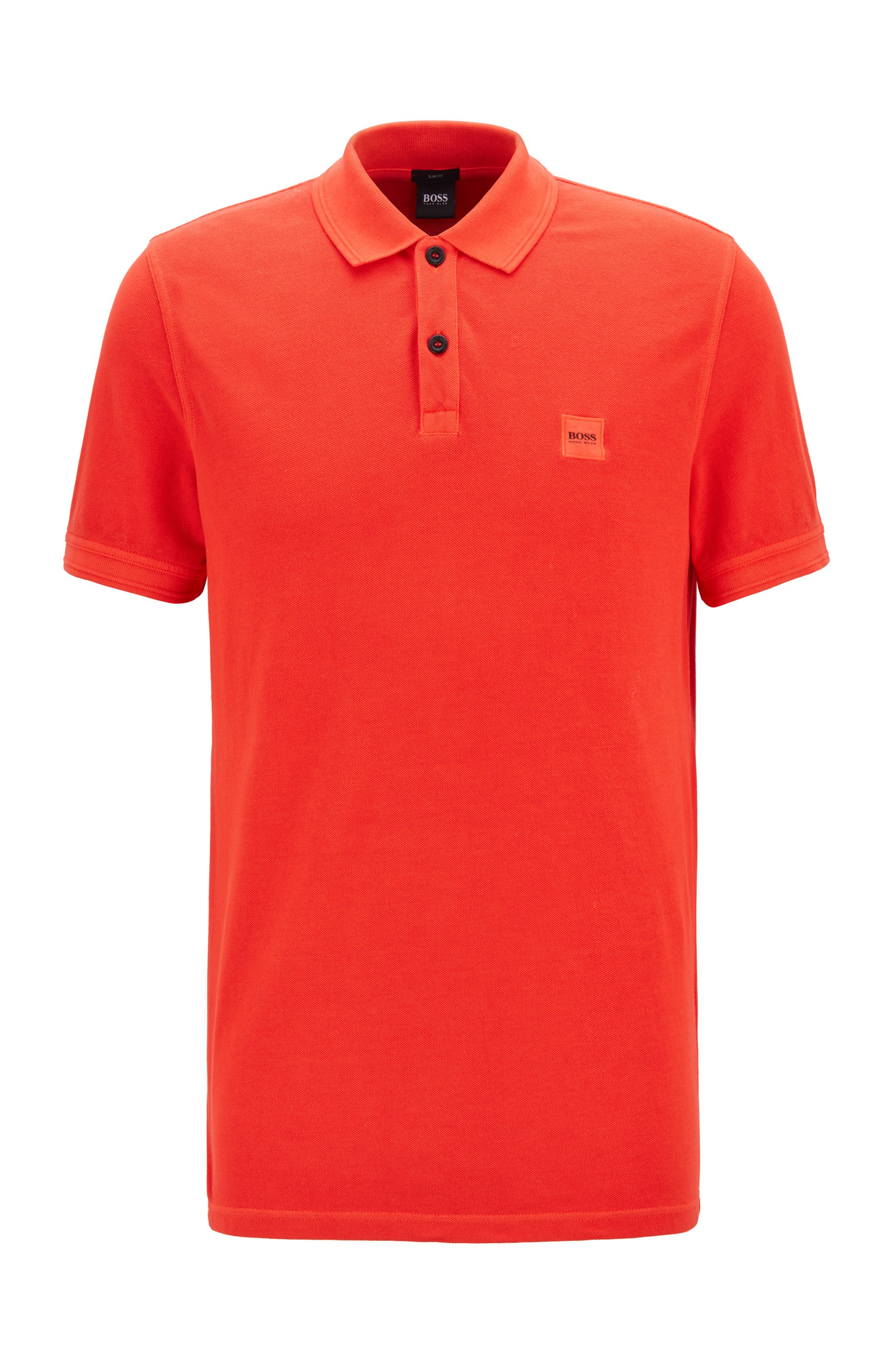 Slim-fit polo shirt in washed cotton piqué, Red