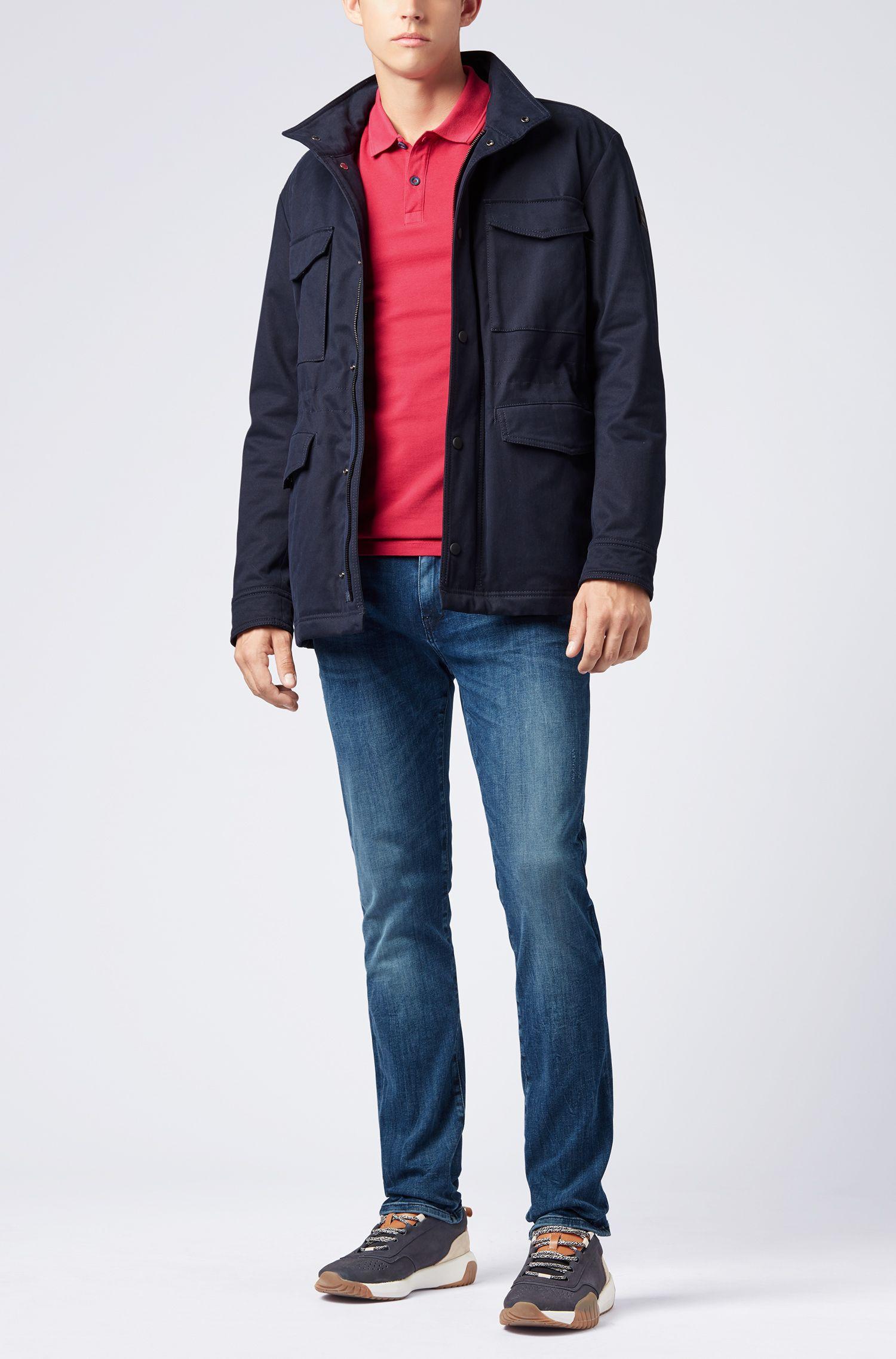 Slim-Fit Poloshirt aus gewaschenem Baumwoll-Piqué, Rot