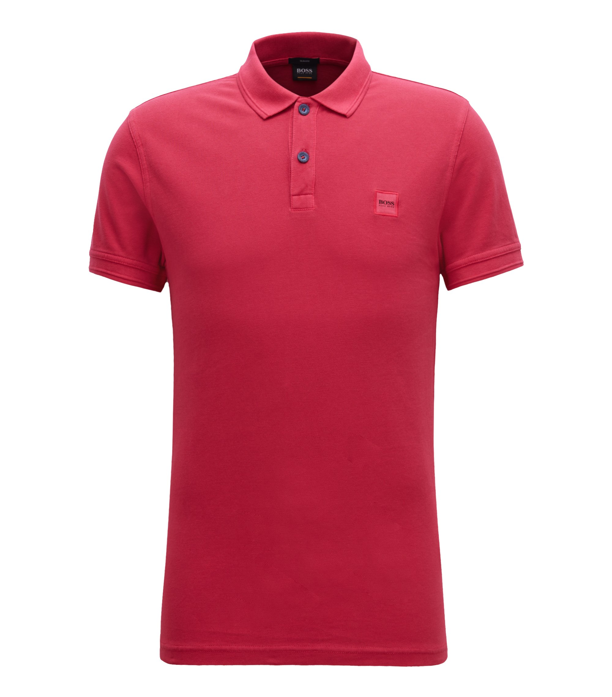 Polo Slim Fit en piqué de coton lavé, Rouge