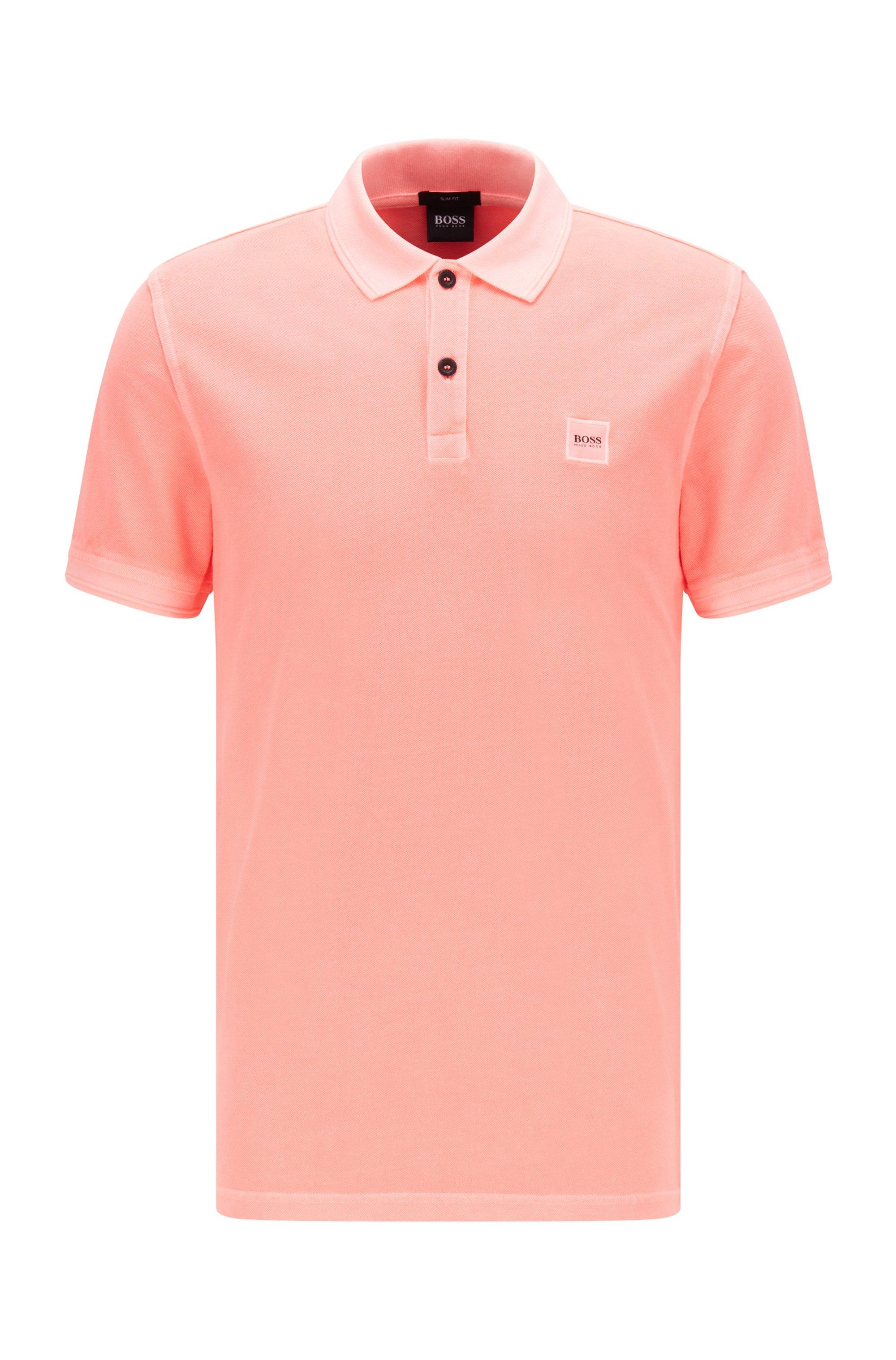 Slim-Fit Poloshirt aus gewaschenem Baumwoll-Piqué, Hellrot