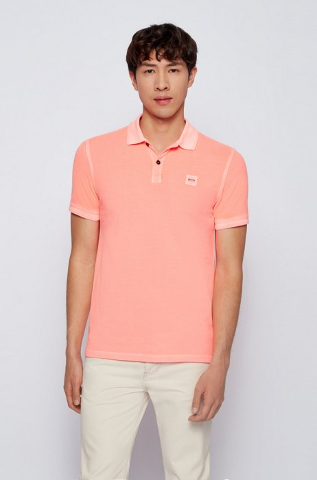 Slim-fit polo shirt in washed cotton piqué, Light Red