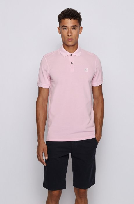 Slim-fit polo shirt in washed cotton piqué, Dark pink