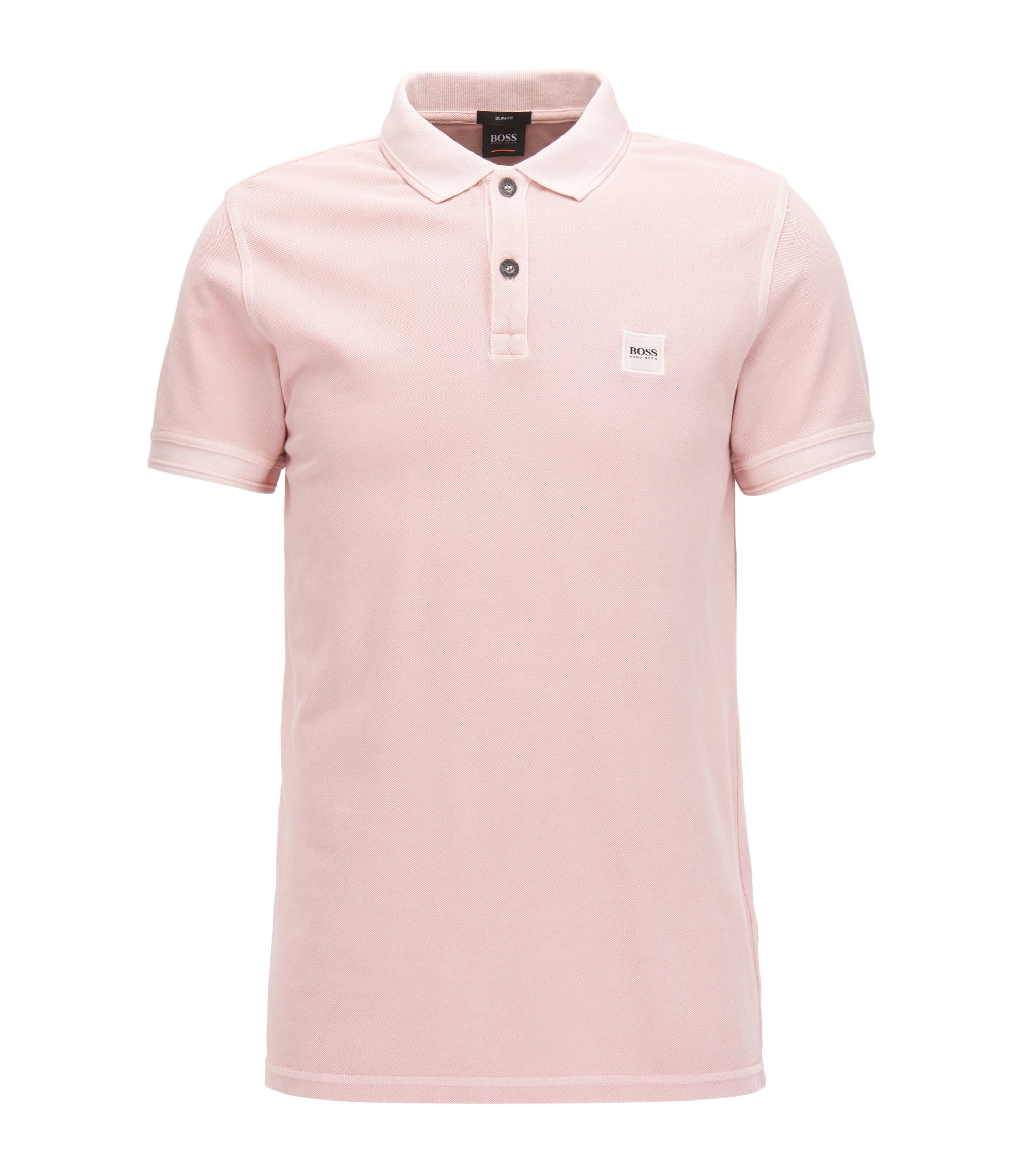 Slim-fit polo shirt in washed cotton piqué, light pink