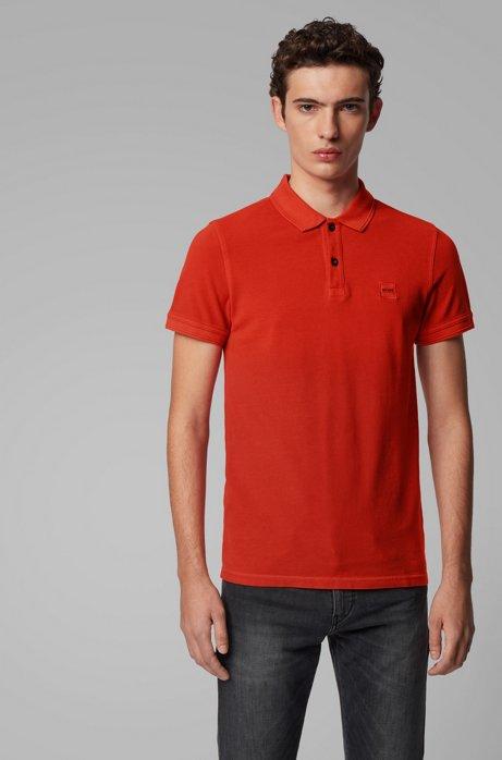 Slim-fit polo shirt in washed cotton piqué, Dark Orange
