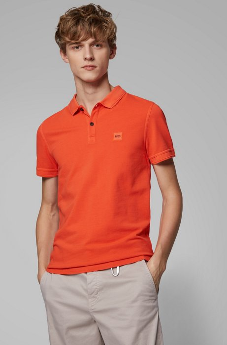 Slim-fit polo shirt in washed cotton piqué, Orange