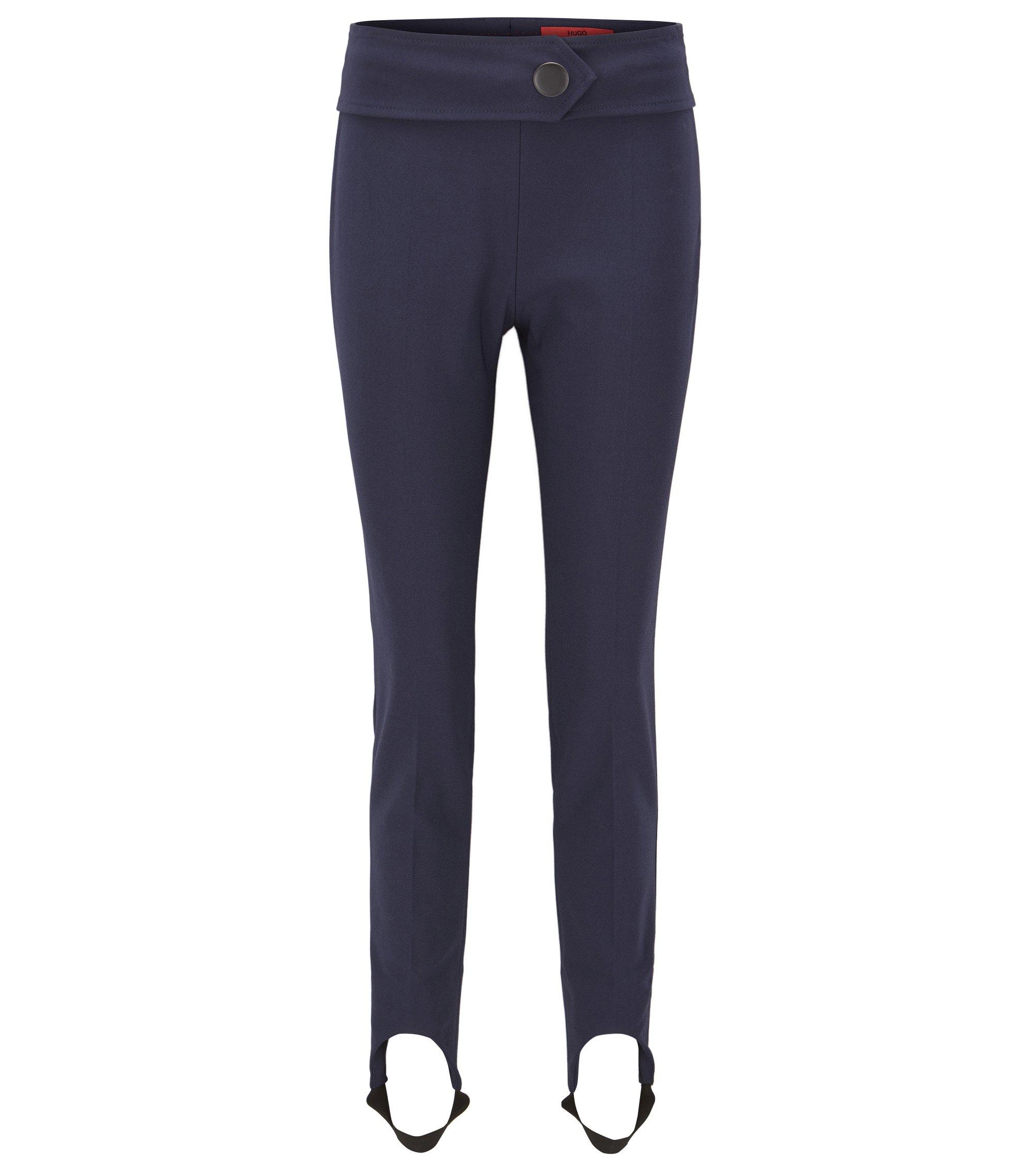 Pantaloni con staffe skinny fit in misto cotone elasticizzato, Blu scuro