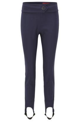 Skinny-fit broek met voetbandjes, van een katoenmix met stretch, Donkerblauw