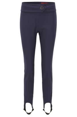 Pantalon Skinny Fit en coton stretch mélangé avec étriers, Bleu foncé