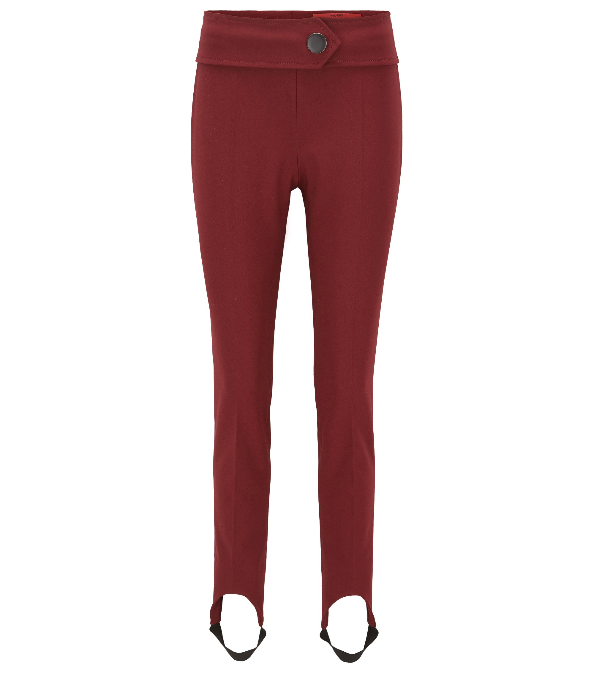 Skinny-fit stirrup trousers in a stretch cotton blend, Dark Red