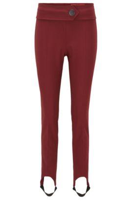 Skinny-fit broek met voetbandjes, van een katoenmix met stretch, Donkerrood