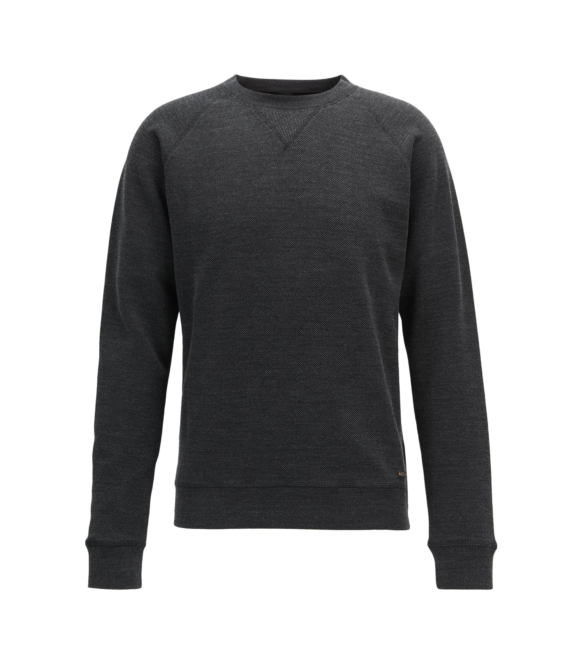 Crew-neck sweatshirt in a structured cotton blend, Black