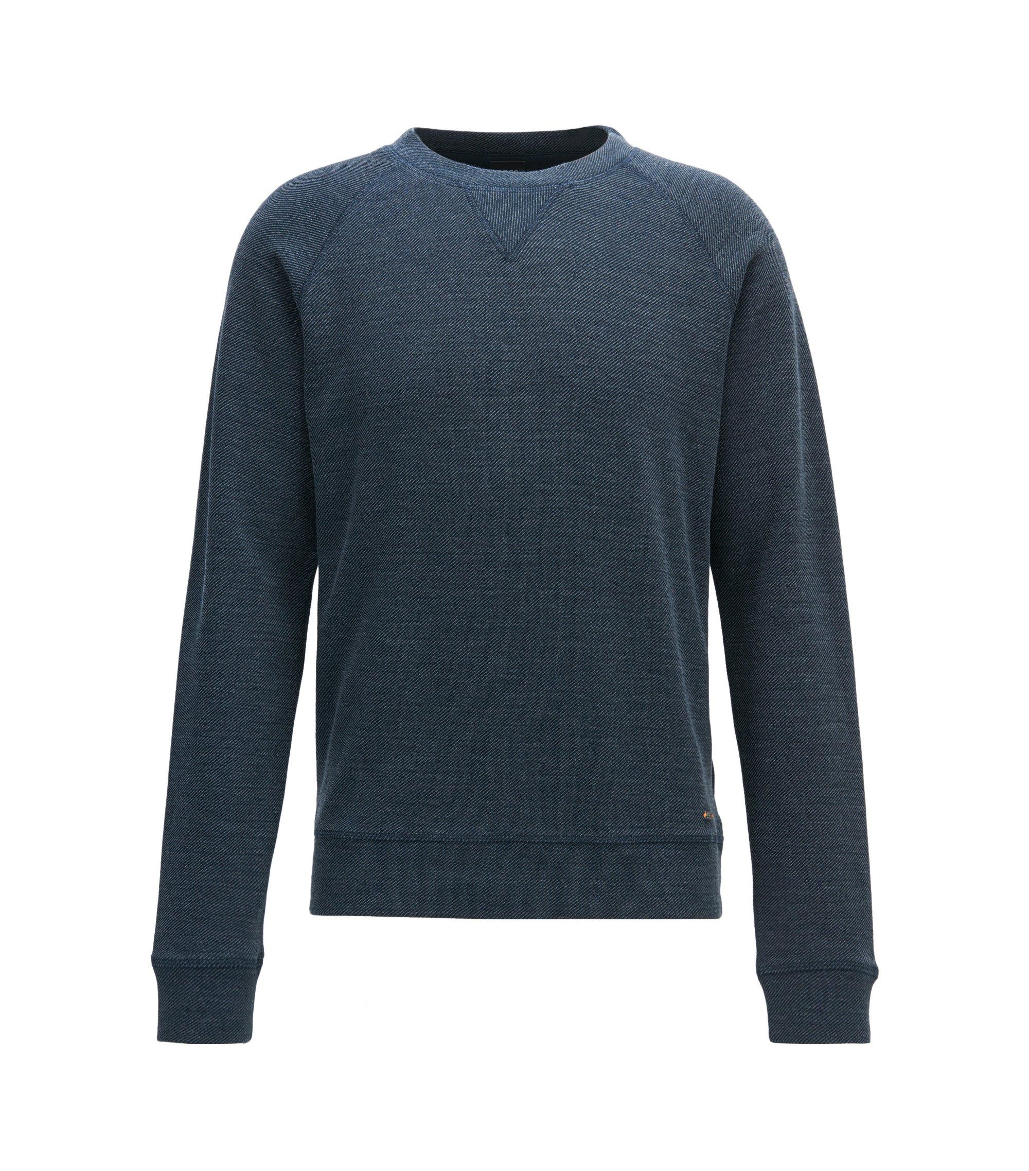 Sweater met ronde hals van een gestructureerde katoenmix, Donkerblauw